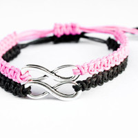 Infinity Couples Bracelets Pink and Black