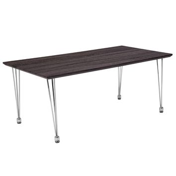 Georgetown Collection Wood Grain Finish Coffee Table with Metal Legs
