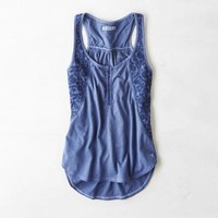 AEO EMBROIDERED PANEL HENLEY TANK