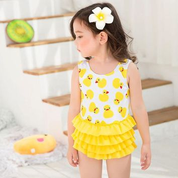 DCCK7N3 New Summer girls one piece swimsuit with swimming cap yellow swimwear baby girl yellow bathing suit child duck swim suit