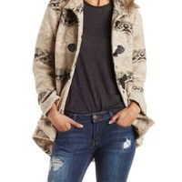 Multi Tribal Jacquard Hooded Duffle Coat by Charlotte Russe