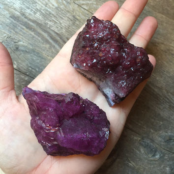 Dyed Raw Amethyst Crystal Cluster Pair Spiritual Healing Crystals and Stones Bohemian Decor Raw Crystal Meditation Stones Sacred Space