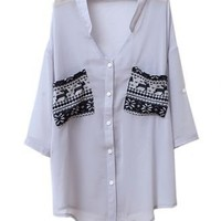 Pockets Color Metching V Neck Chiffon Shirt Grey - Sheinside.com