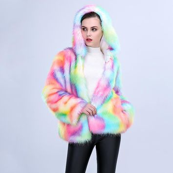 2018 New Winter Women Multicolor Faux Fox Fur Coat with Hooded Colourful Female Slim Artificial Fur Coats Faux Fur Coat Jacket