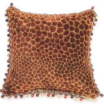 "Animal chenille Jag / Rust pattern print 18"" x 18"" throw pillow with berry tassel trim"
