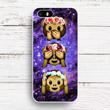 In Space Galaxy Universe Monkey Flower Crown Emoji Purple Hard Cover Case Shell for iPhone 4 4S 5C SE 5 5s 6 6s 6 Plus 6s Plus