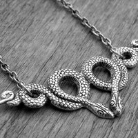 Halloween Necklace Halloween Jewelry Silver Snake Necklace Snake Jewelry Serpent Necklace Serpent Jewelry Gothic Goth Witchcraft Voodoo