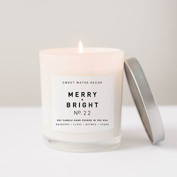 Merry and Bright Soy Candle | White Jar Candle