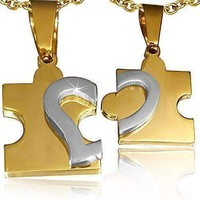 CLEARANCE - Puzzle Heart Pendants Necklace Set in Gold and Stainless Steel for Men or Women