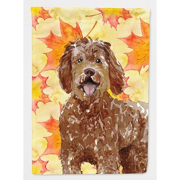 Fall Leaves Labradoodle Flag Canvas House Size CK1837CHF