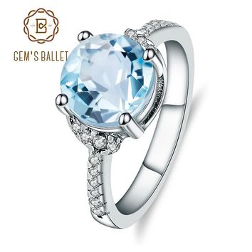 Gem's Ballet Natural Sky Blue Topaz 925 sterling silver Rings Classic Elegant Fine Jewelry For Women Wedding Engagement jewelry