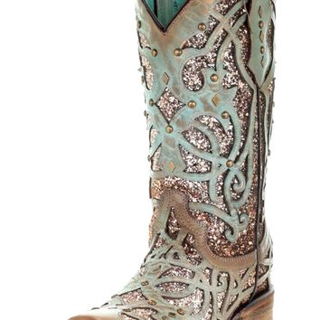 Corral Mint Glitter Inlay & Studs Fashion Western Square Toe Boots