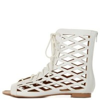 White Qupid Cut-Out Lace-Up Gladiator Sandals