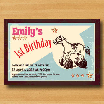 Toy Horse birthday invitation, kids toy birthday, vintage design for any age, rocking horse 1st 2nd 3rd 4th 5th 6th 7th 8th 10th - card 366