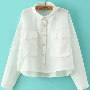 White Dual Pocket Long Sleeve Crop Top