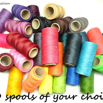 30 spools of your choice, waxed cord, macrame supplies, coloured thread, macrame tutorial, bracelet making, knotted bracelet, Linhasita
