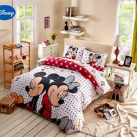 Mickey mouse comforter bedding set queen size Disney cartoon minnie print duvet cover twin full 4/5pcs child kids bedroom decor
