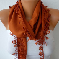 Burnt Umber Scarf   Cotton  Scarf  Headband Necklace by fatwoman/88956939/