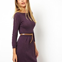 ASOS | ASOS Slash Neck Knitted Dress With Belt at ASOS