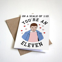 Scale of 1 - 10 - Funny Anniversary Card, Funny Valentines Card, Strangers Things Card -  For Girlfriend or Boyfriend - 4.5X6.25 Inch card