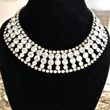 Rhinestone Collar Necklace, Bib Necklace, Multi Sizes, Silver Tone, Bridal Necklace, Wedding Jewelry, Statement Necklace, Vintage Jewelry