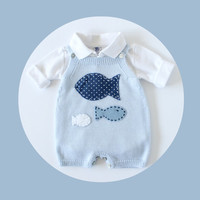 Knitted overalls in soft blue with fishes. 100% merino wool. READY TO SHIP size 1-3 months.