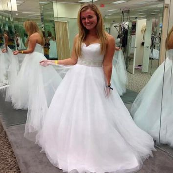 9040 2016 A-line With Crystal Beads Tulle  Wedding Dress for Bridal Dresses Size 2 4 6 8 10 12 14 16 18 20 22 24 26 28