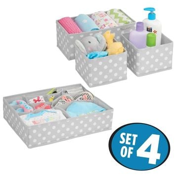 mDesign Soft Fabric Dresser Drawer and Closet Storage Organizer Set for Child/Baby Room or Nursery – 8 Organizing Bins - Polka Dot Pattern, Set of 4, Light Gray with White Dots