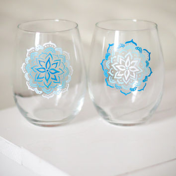Pair of Blue Ombre Mandala Glasses