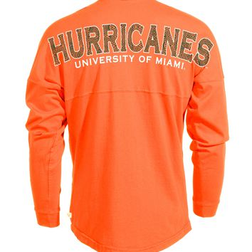 Official NCAA University of Miami Hurricanes The U UM U of M Canes Spirit Wear Jersey T-Shirt
