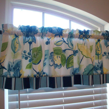 Custom Boutique Valance /Lined Curtain - Bathroom, Bedroom, Nursery, Girls Room - Window Treatment Blue, yellow floral with striped trim