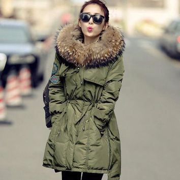 Winter Jacket Women 2017 Brand Parka Real Big Raccoon Fur Collar Army Green Goose down Jacket Slim Thicken Warm Parkas DHL Free