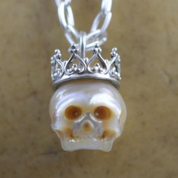 Hand Carved Full Skull Wearing Sterling Silver Crown Necklace
