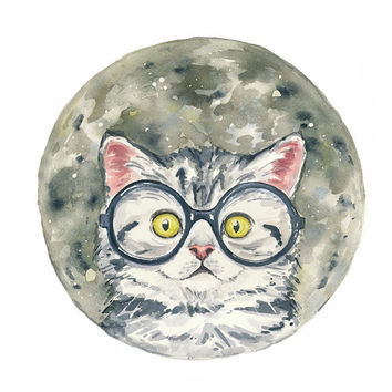 Original Cat Watercolor Painting - Moon, Space, Grey Kitten, Nursery Art, 11x14 Original Watercolor