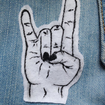 Punk Rock and Roll Hand Symbol Patch