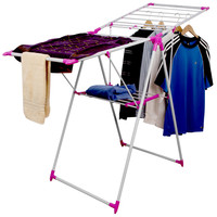 Evelots Folding Laundry Drying Rack,Portable Clothes Hanging Storage System,Pink