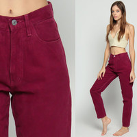Guess Jeans Mom Jeans Burgundy Red High Waist Jeans 80s Super High Waisted Denim Pants Baggy 90s Vintage Dark Hipster Extra Small xs