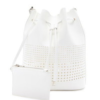 Perforated Faux Leather Bucket Bag