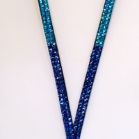 From the Heart 4 Color Blue Fade Rhinestone Identification Holder Lanyard-Colors are Iridescent Rainbow to Light Blue to Aqua to Sapphire Rhinestones Perfect Nurse, Teacher, or Graduation Gift!!!Amazing Intense Unusual Color!!!
