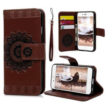 CREYRQ5 iPhone 6S 6 Wallet Case 4.7 inch, YOKIRIN PU Leather Henna Mandala 3D Relief Floral Embossed Folio Flip Full Protective Cover with Credit Card Holder Kickstand Magnetic Closure for iPhone 6 6S, Brown