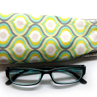 Eyeglasses Case - Yellow and Gray cotton fabric - Kiss Lock Silver Frame