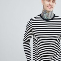 ASOS DESIGN long sleeve stripe t-shirt in black and white at asos.com
