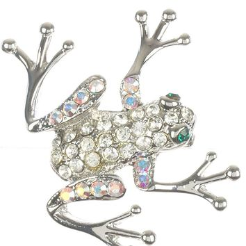 Aurore Boreale Pave Crystal Stone Frog Metal Pin And Brooch