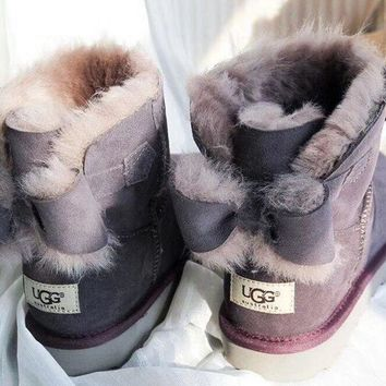 UGG Fashion Winter Women Bowknot Flat Warm Snow Ankle Boots Dark grey G
