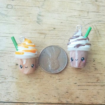 Kawaii Frappuccino Charm - Polymer Clay Charm, Polymer Clay Jewelry, Miniature Food, Sweets, Pendant, Coffee Cute, Drink