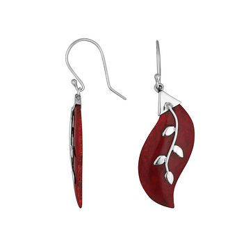 AE-1096-CR Sterling Silver Fancy Earring With Coral