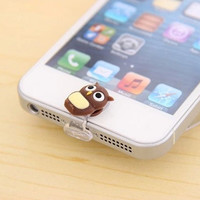 2 in 1 Yellow Duck Kitty Penguin Dear Owl Lightning Data Port Cable Dust Plug Home Button Sticker for iPhone 5 5C 5S iPad 4 iPod Touch 5