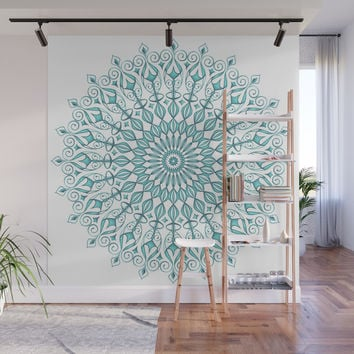 Aqua mandala Wall Mural by juliagrifoldesigns