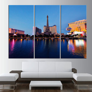 Large canvas print Las Vegas Skyline wall art, extra large wall art print canvas, gallery art, Las Vegas skyline large canvas print art t367