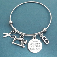 Personalized, Letter, Intiail, Create SOMTHING BEAUTIFUL Each Day, Sewing machine, Scissors, Silver, Bangle, Bracelet, Gift, Jewelry